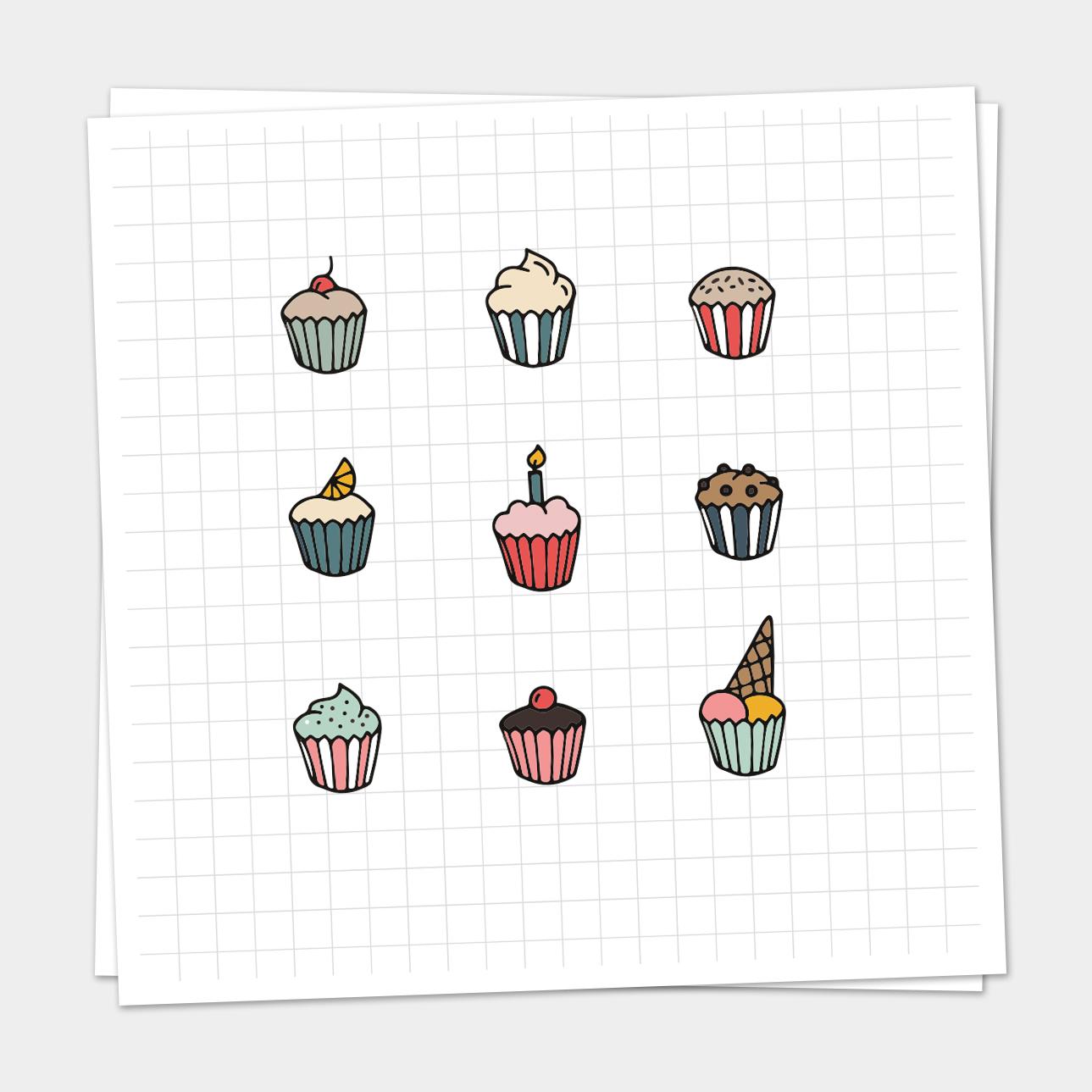 Iconen Set Cupcakes
